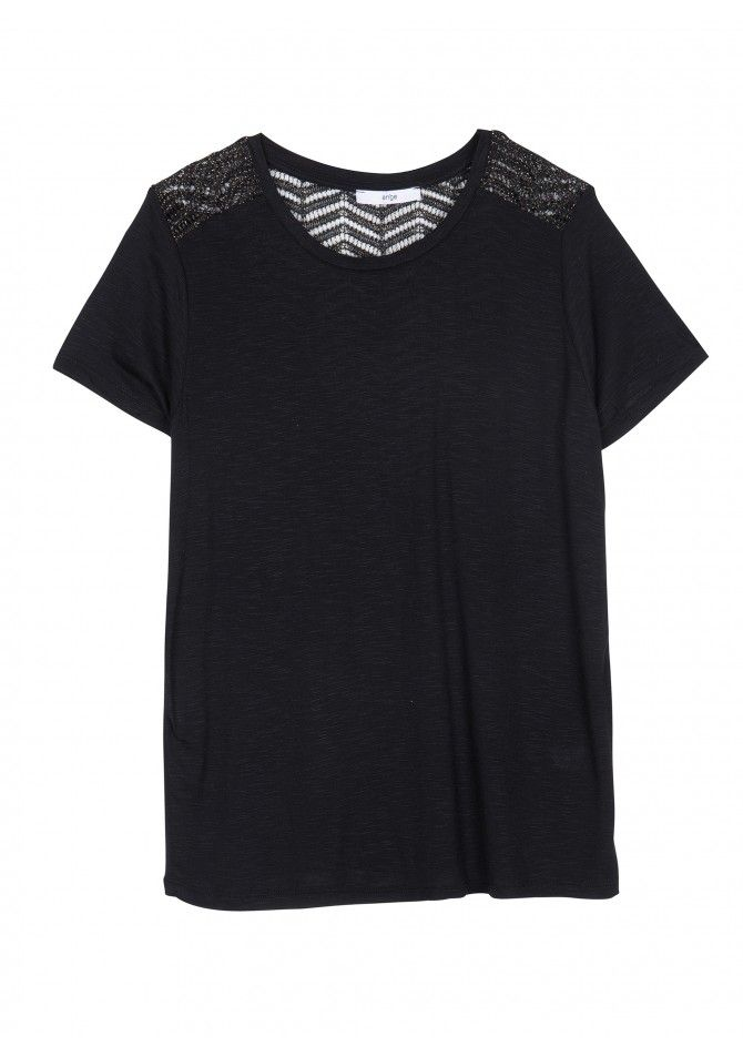 TALISSA37 - Rond collar t-shirt with lace knit details and glitters
