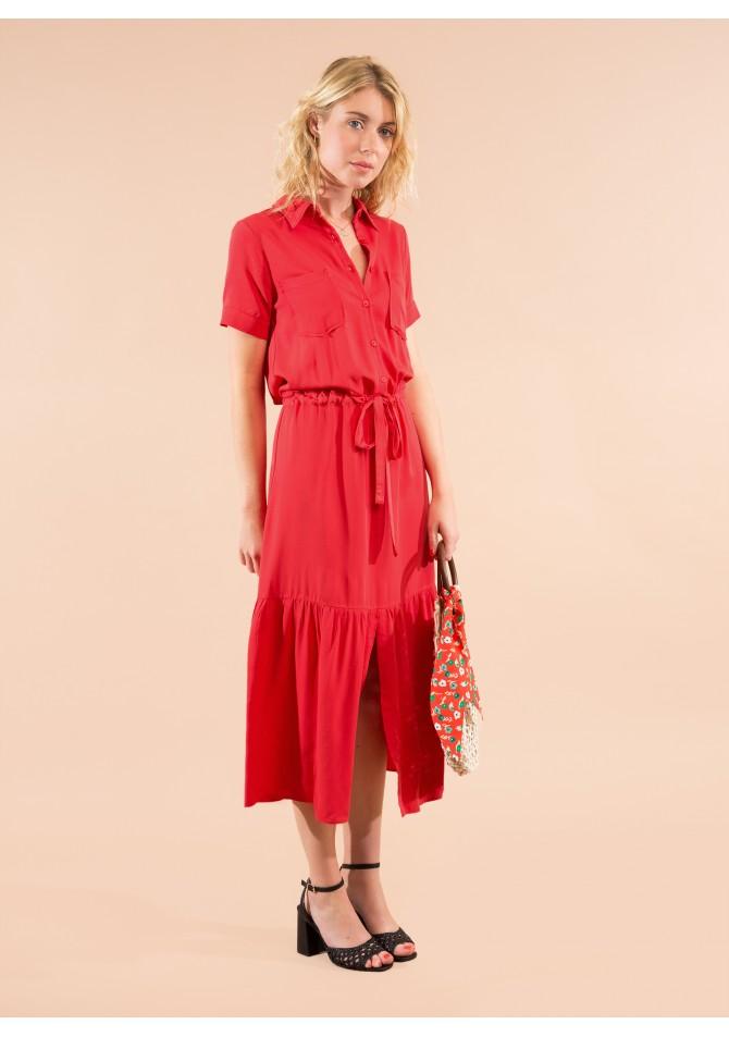 FOLK MC - Ruffled maxi dress with short sleeves - ANGE