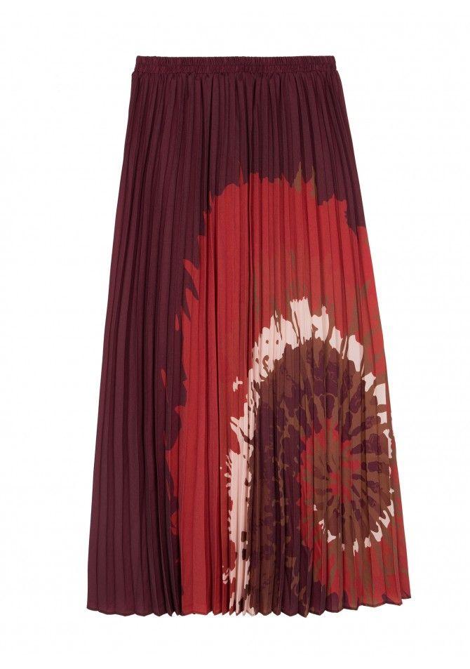 JULES TIDYE - Satin pleated midi skirt with print tidye - ANGE