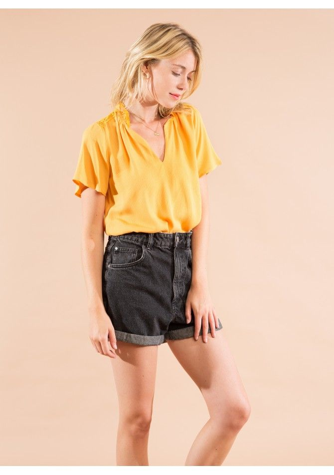BERRY -Plain short sleeves top - ANGE