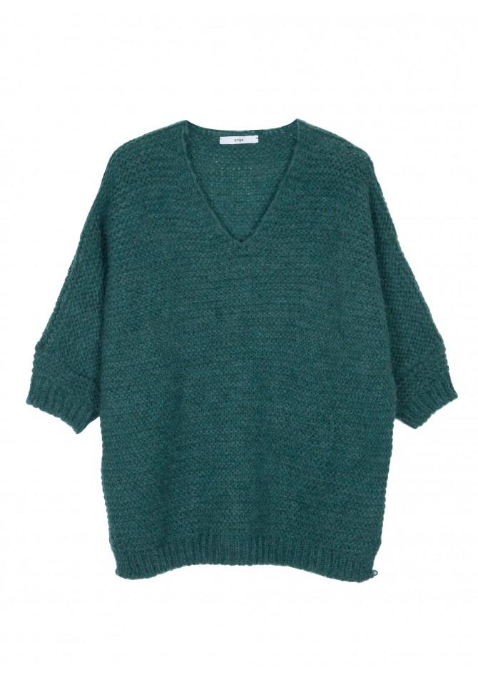 LEONA Pull oversize big stitch collar v - ANGE