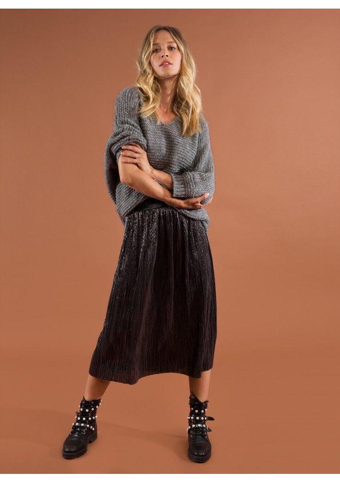 JOEY - Jupe mi-longue plissée avec bande élastique à la taille - ANGE