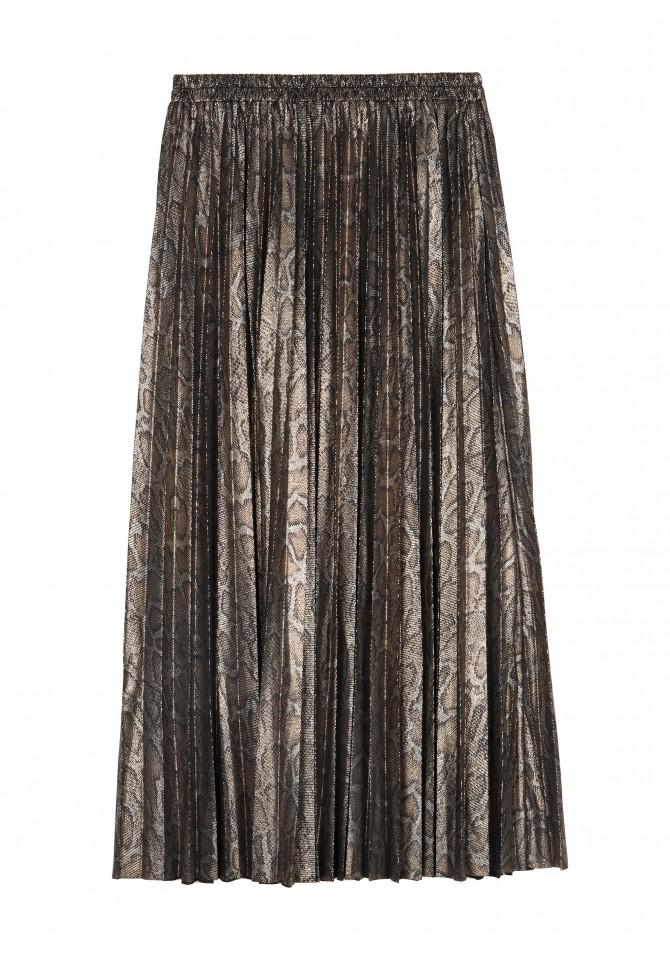 JELLY GOLD Printed pleated midi skirt ANGE