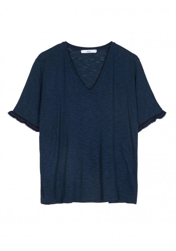 TOSCAR T-shirt manches courtes avec le bas des manches en maille fine ANGE