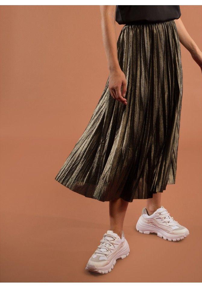 JUNO Metallic medium length skirt - ANGE