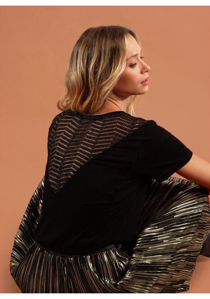 TALISSA37 - T-shirt manches courtes avec le haut du dos en maille fine - ANGE