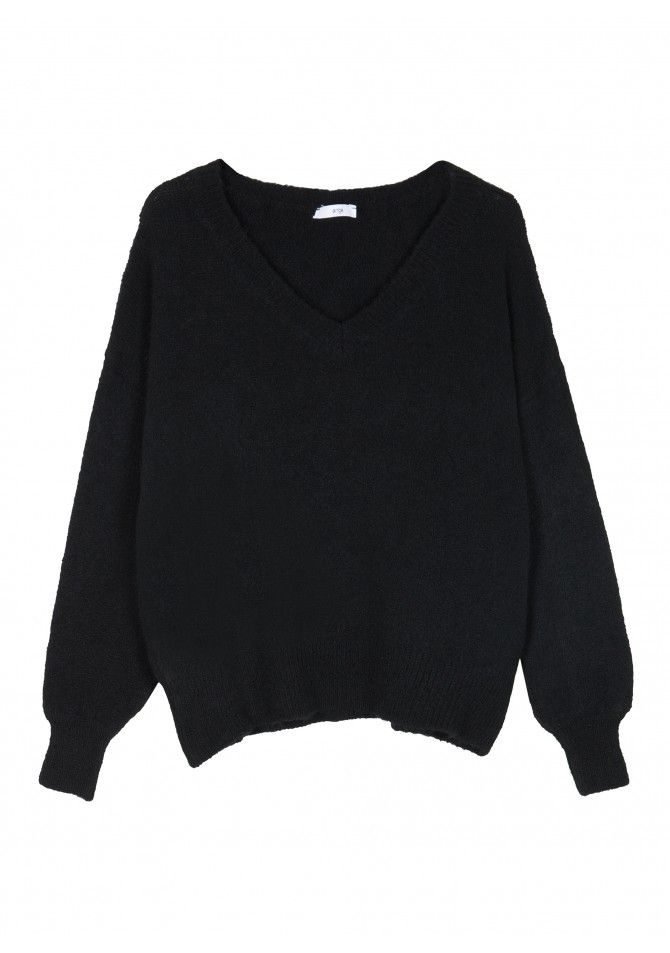 LUNGO Big knit v neck sweater ANGE