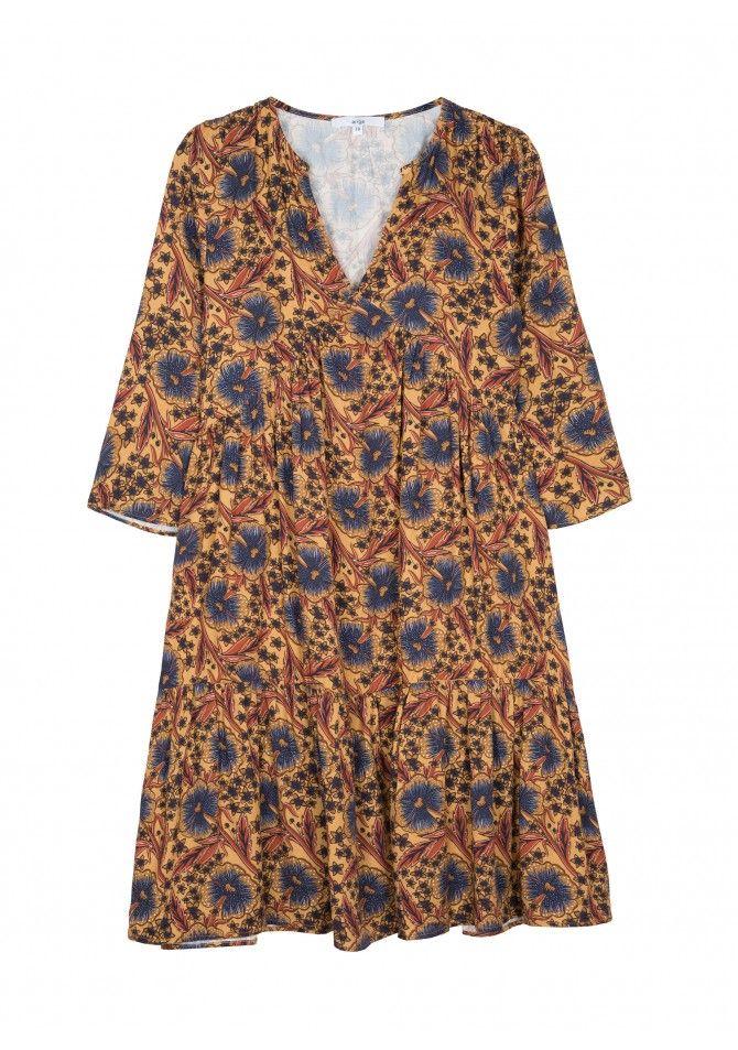 MELBA Robe courte en viscose imprimée - ANGE