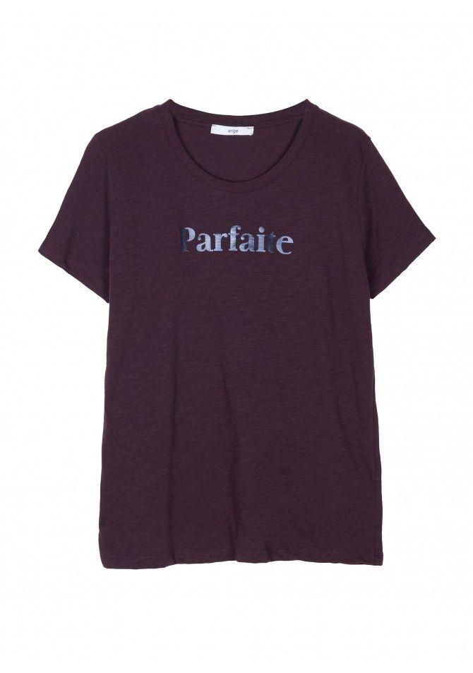 TEPARFAITEPrinted rond collar straight cut t-shirt ANGE