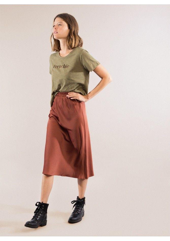 JEANNE Mid-length skirt in satin ANGE