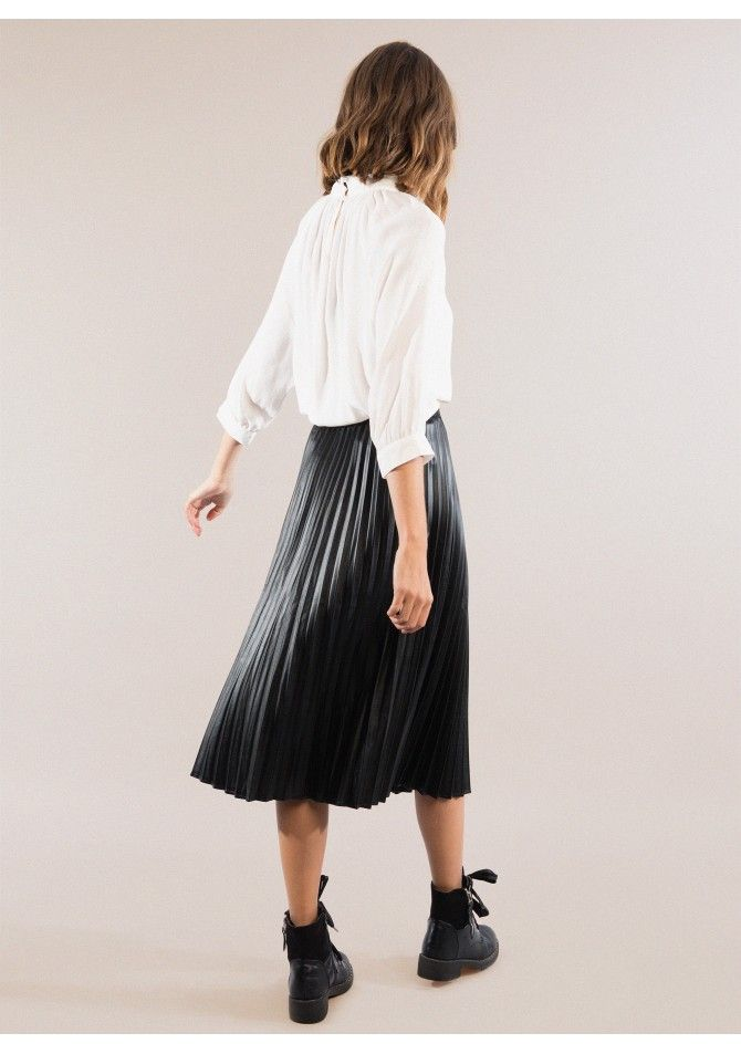 JESSY Leather midi skirt ANGE