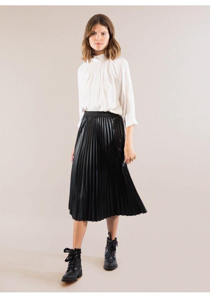 JESSY Leather midi skirt ANGE