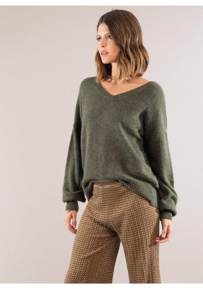 LUNGO Big knit v neck sweater ANGE