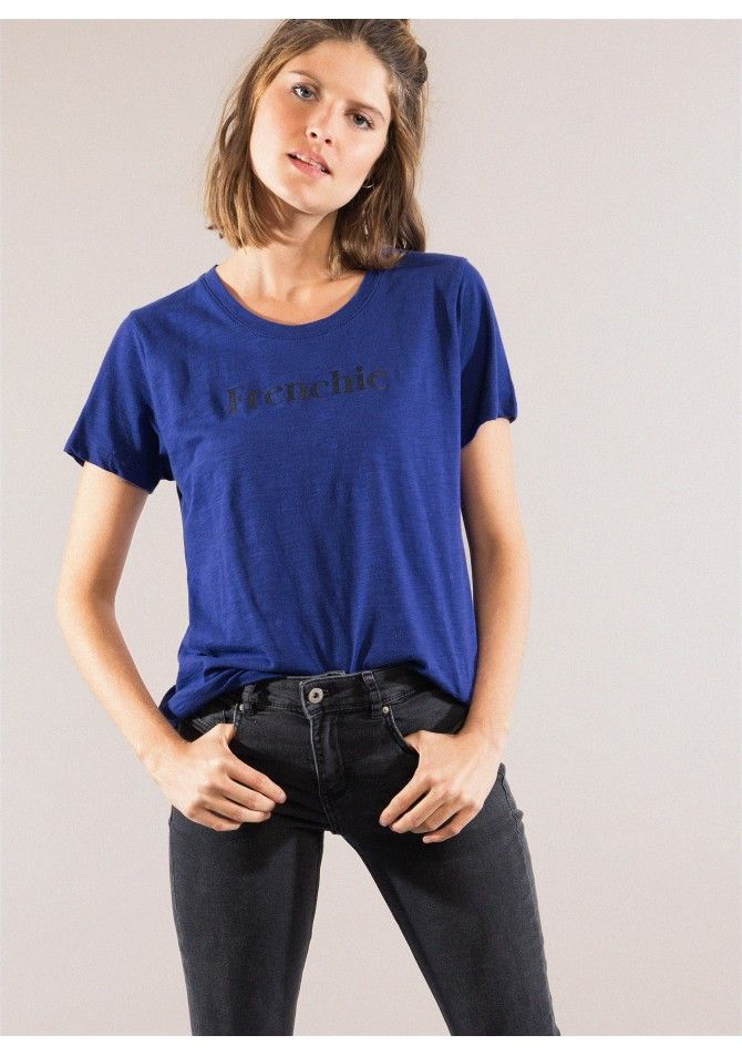 TEFRENCHIE Printed rond collar straight cut t-shirt ANGE