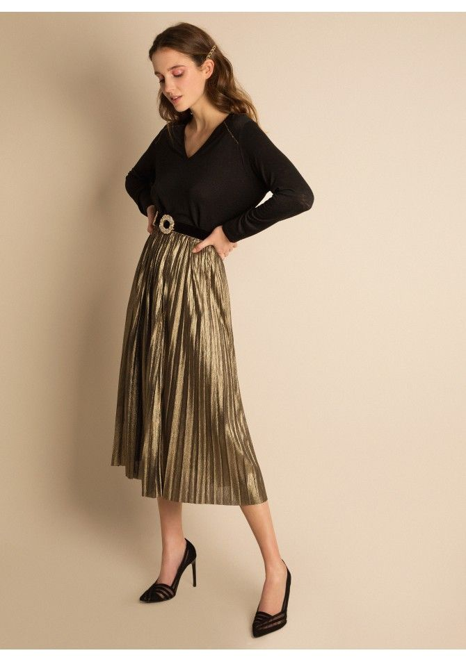 JUNO Metallic medium length skirt - ANGE