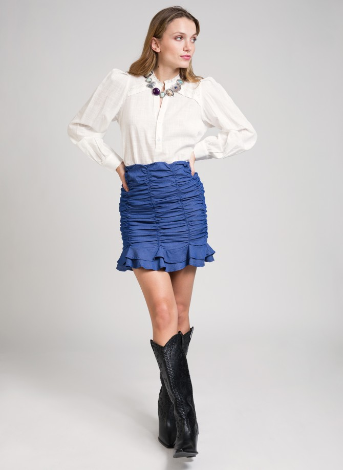 Gathered denim mini skirt...