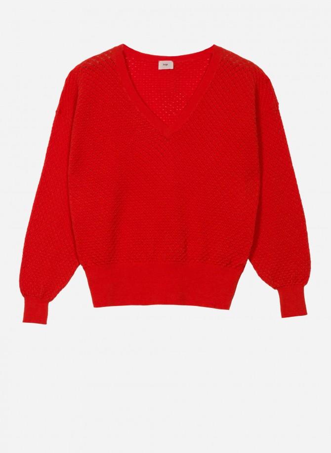 Short, loose knit jumper...