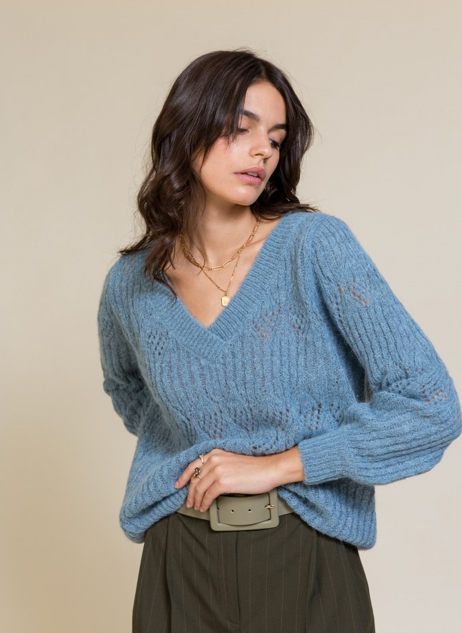 Reversible sweater in openwork and twisted knit LEPAULINA