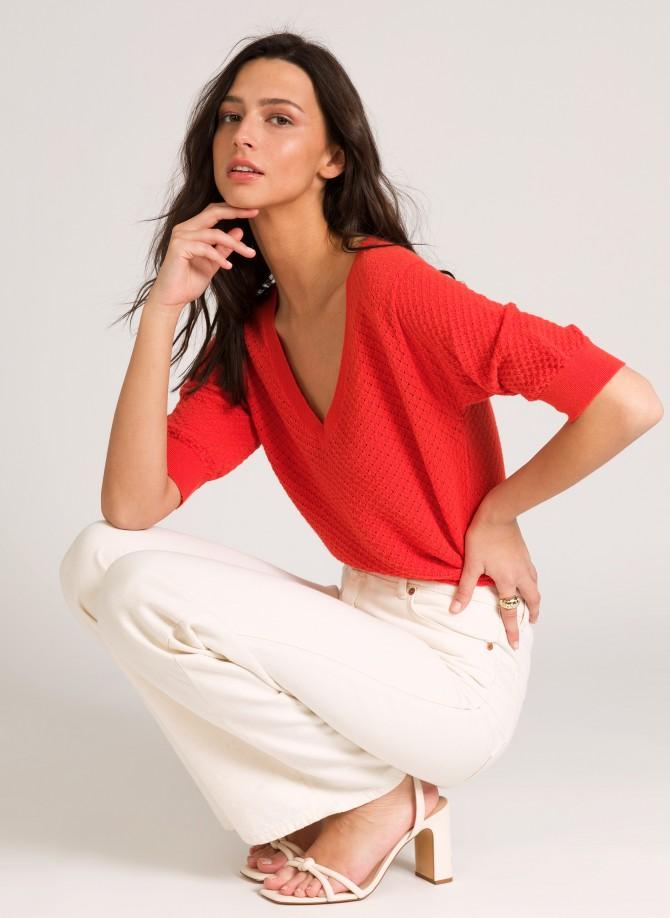 Short-sleeved knitted jumper LESAMY