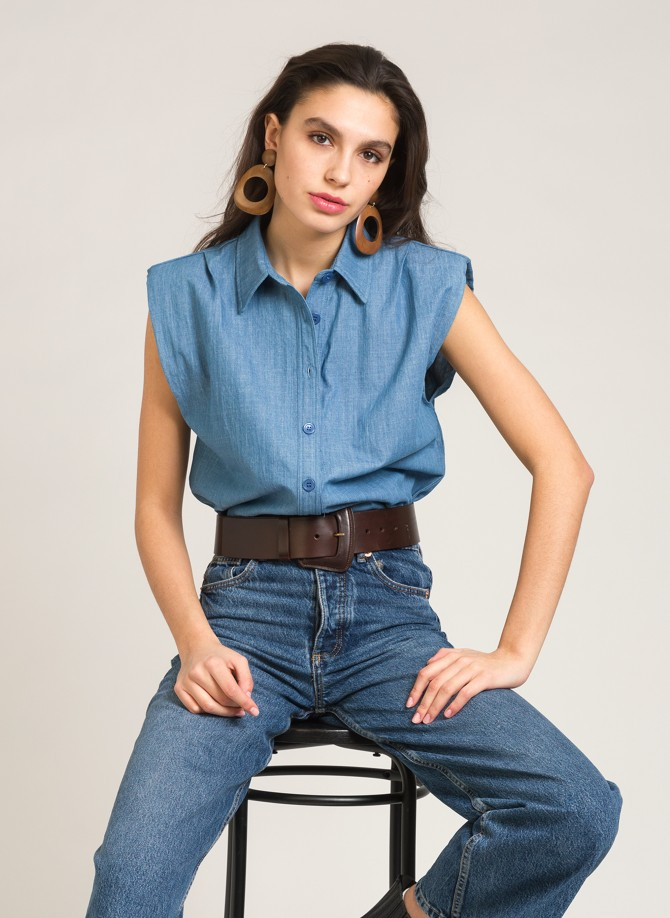 Sleeveless denim shirt  AGATA