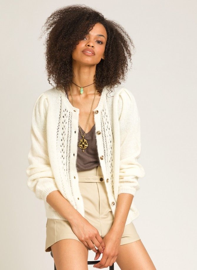 Short knit and buttoned cardigan LEZAZA
