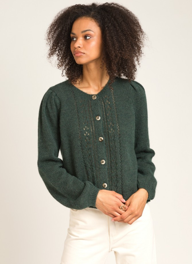 Short knit and buttoned cardigan LEZAZA SC
