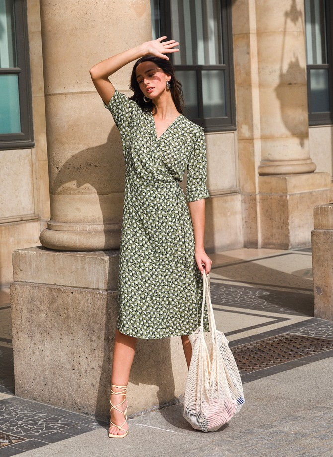 Lurex mid-length wrap around dress MAHO VL