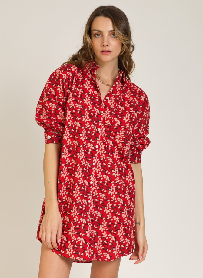 Short shirt-like dress in cotton  MISTIE