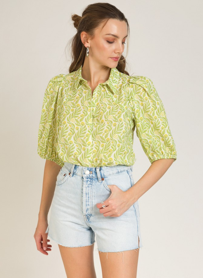 Cotton button-down shirt...