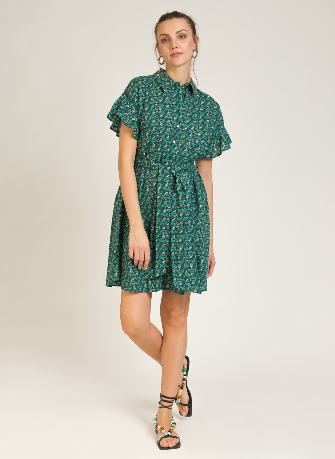 Belted cotton shirt dress...