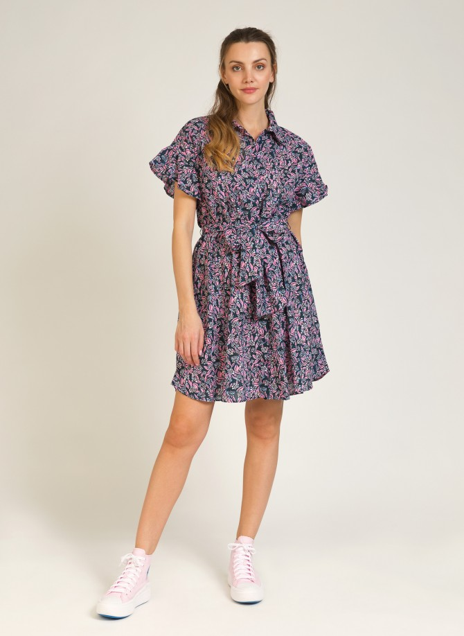 Belted cotton shirt dress MARCY