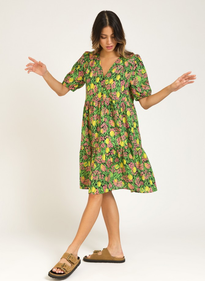 Short dress with cotton ruffles MALOU