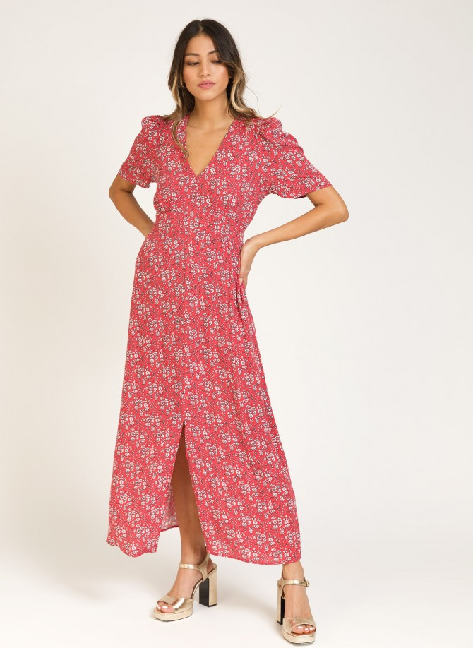 Flared long dress with...