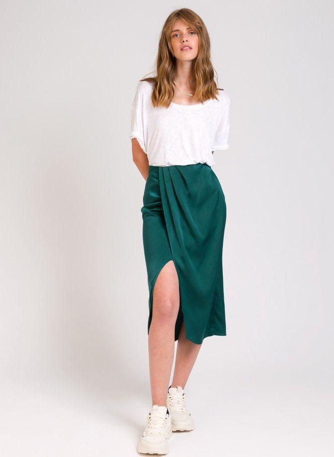 JUDES draped and slit skirt