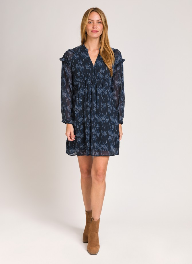Short printed dress with ruffles ODETTE