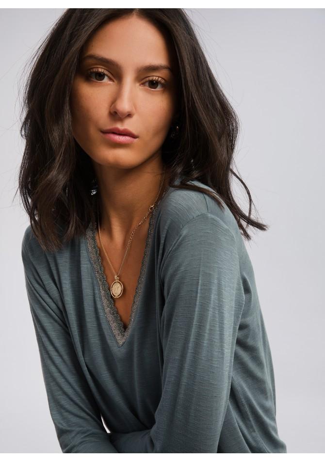 TEYOGA - T-shirt manches longues col festonné
