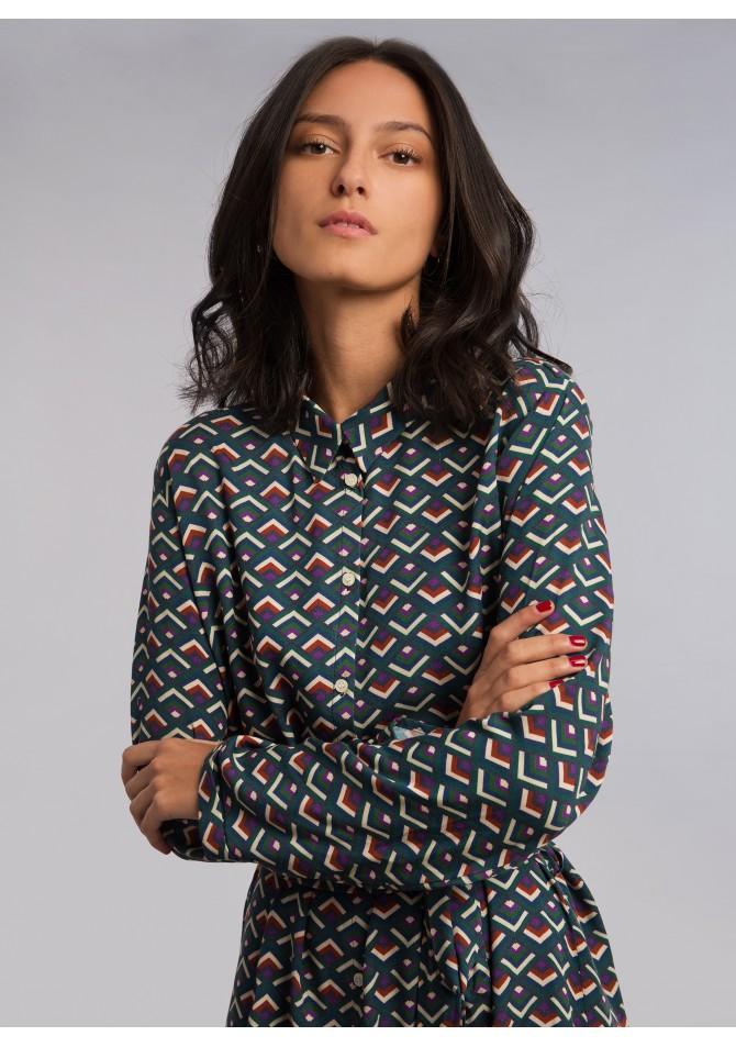Robe chemiser imprimée courte - FLOW