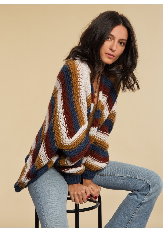 LOULOU RAYE - cardigan rayé en laine mélangée