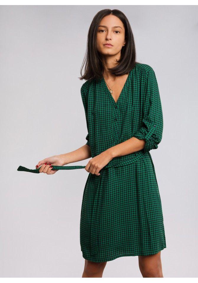 robe courte ceinturée imprimé tropical - FRANEIMP