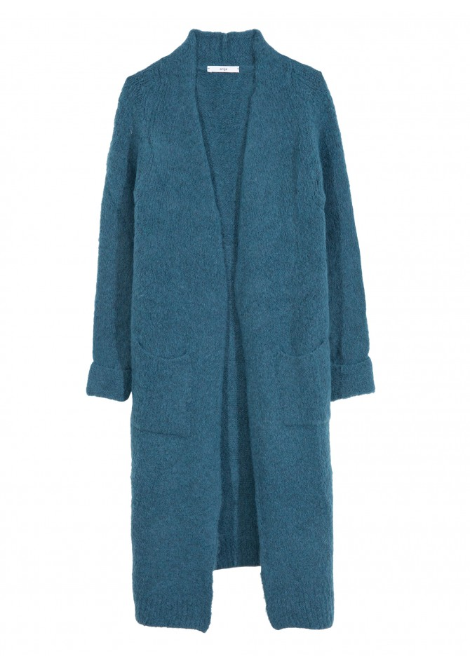 LEBOBO - cardigan long col montant à poches - ANGE