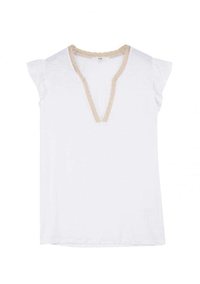 TANOA - T-shirt manchons volantés détail lurex - ANGE