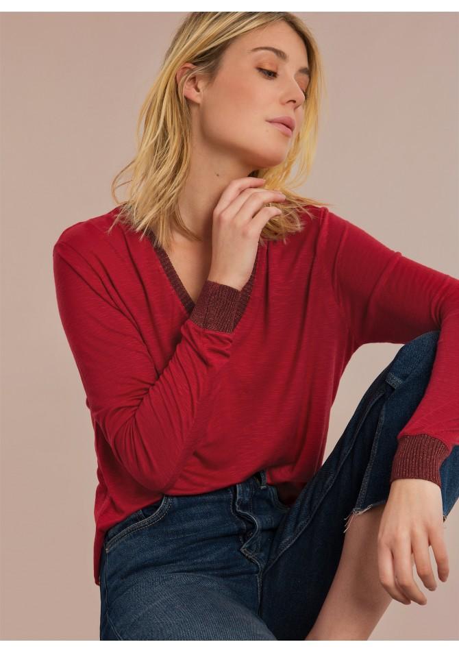 TANGO - T-shirt basique col et manches contrastants