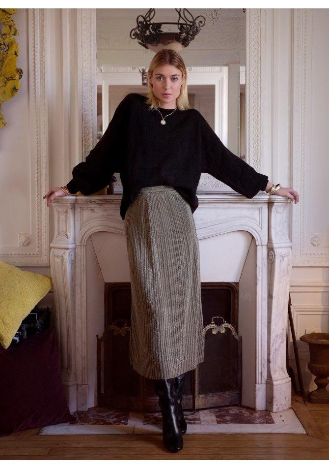 LOPALE - Jupe longue en maille fine reflets brillants