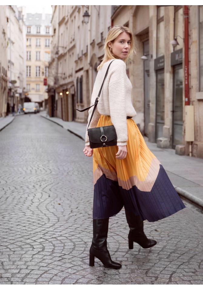 JESS -Pleated print midi skirt