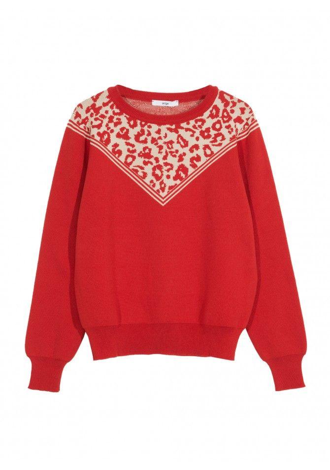 LESAFARI -light knitwear jumper with animal print detail - ANGE