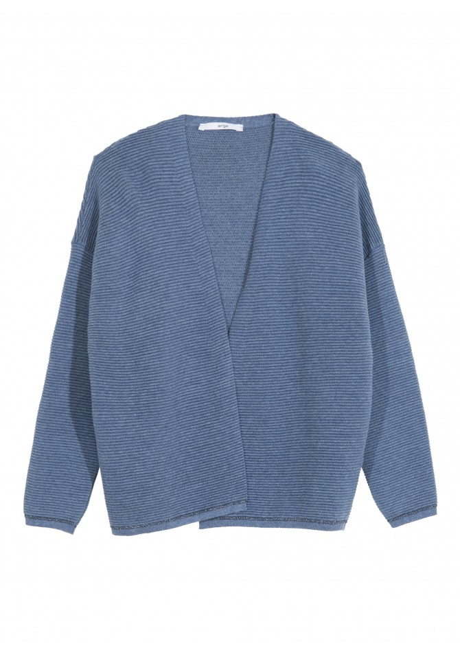 LECHOUPI - Open cardigan with stripe aspect - ANGE