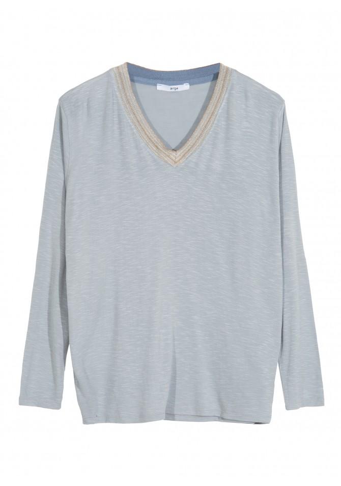 TASSO -Long sleeved t-shirt gold details - ANGE
