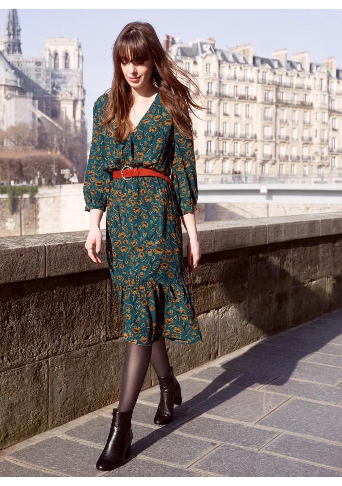 FELINI - robe longueur midi imprimee - ANGE