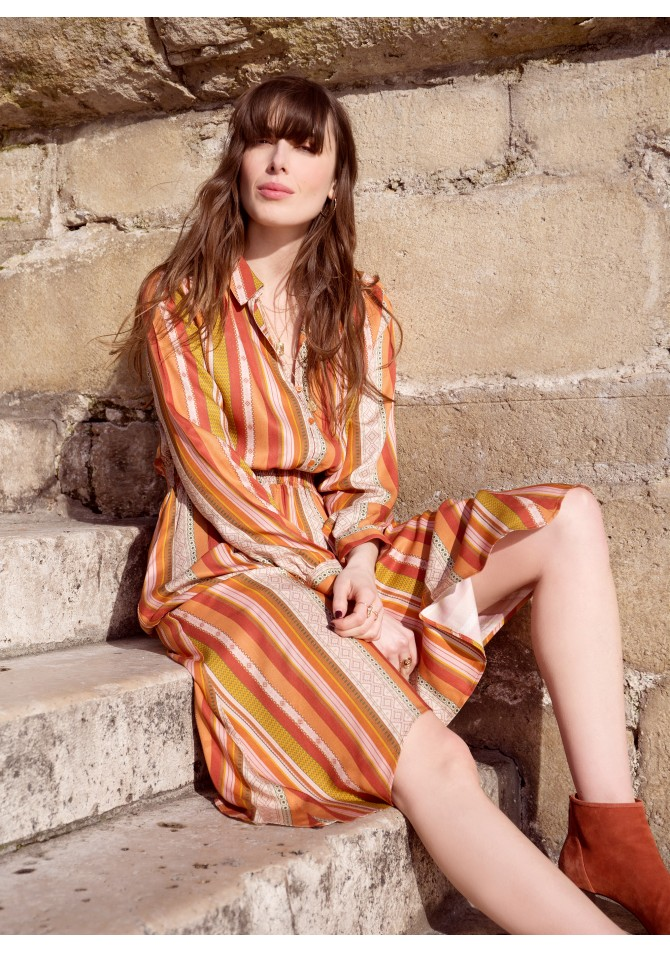FRESH - Long midi print dress - ANGE