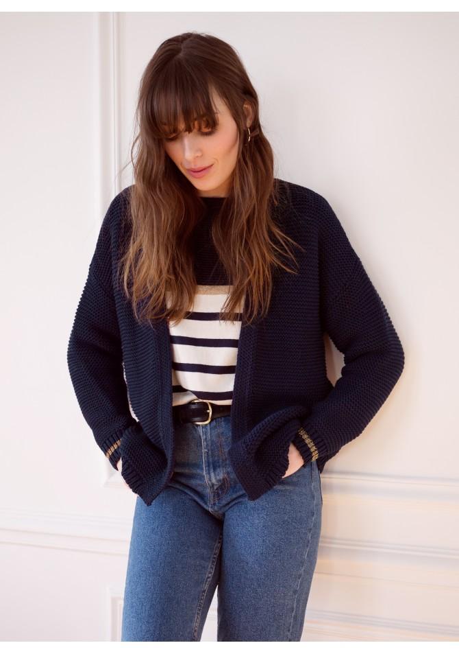 LIONNE - Open textured knitwear cardigan - ANGE